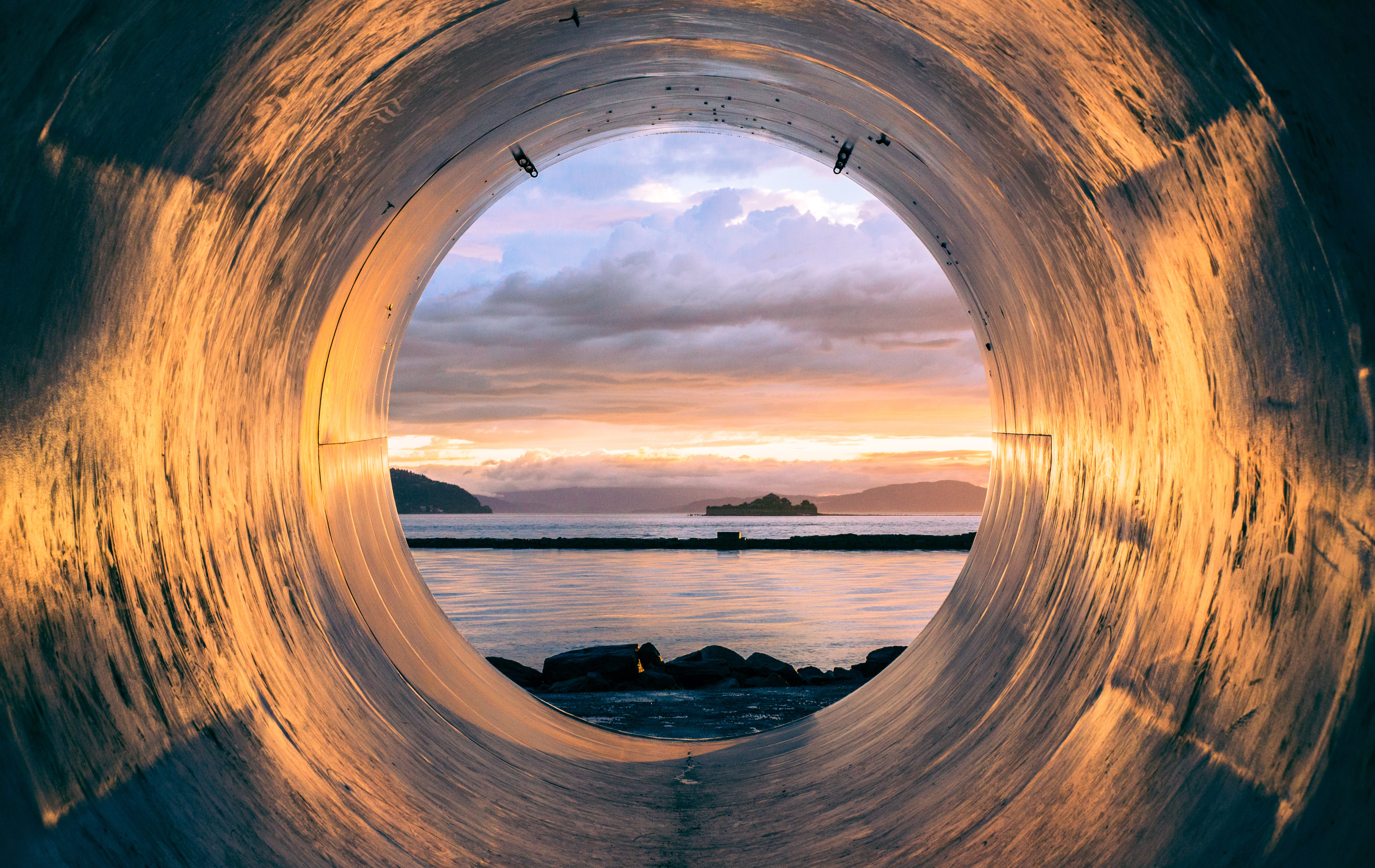 tunnel with view on sea side and sunset