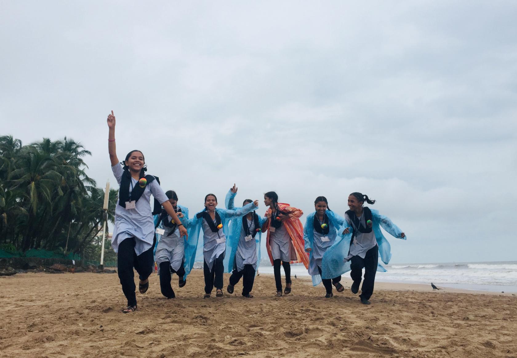 kids running beach